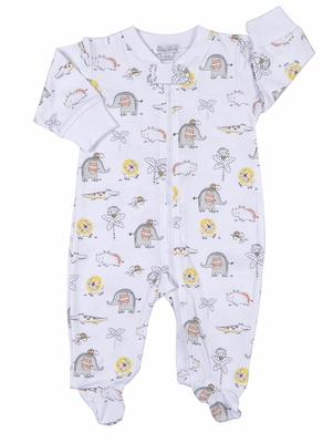 Kissy Kissy Baby Boys Gray / Yellow Jungle Jamboree Animals Print Footie with Zipper