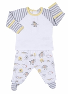 Kissy Kissy Baby Boys Gray / Yellow Jungle Jamboree Elephant Footed Pants Set