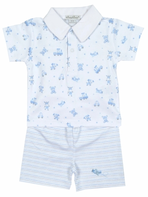 Kissy Kissy Baby Boys Light Blue First Friends Dogs in Cars Collar Shirt with Striped Shorts