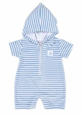 Kissy Kissy Baby Boys Light Blue Striped Gone Sailing Terry Romper with Hood