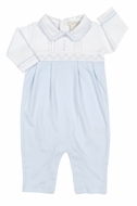Kissy Kissy Baby Boys Light Blue Smocked Timeless Playsuit with Collar