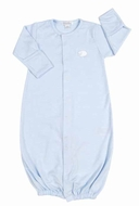Kissy Kissy Baby Boys Lovable Lambs Striped Convertible Gown - Blue