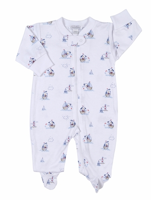 Kissy Kissy Baby Boys Navy Blue Harbor Master Sailor Dog Print Zipper Footie