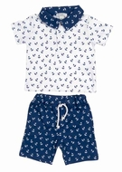 Kissy Kissy Baby Boys Navy Blue Sail Away Print Bermuda Shorts Set with Collar