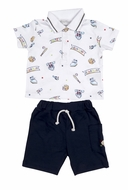 Kissy Kissy Baby Boys Navy Blue Shorts with Little Slugger Baseball Print Shirt with Collar
