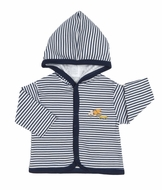 Kissy Kissy Baby Boys Navy Blue Striped Truck Jacket with Hood