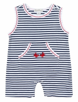 Kissy Kissy Baby Boys Navy Blue Stripes / Red Crab Romper - Sleeveless