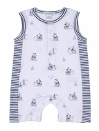 Kissy Kissy Baby Boys Navy Blue Stripes / Sailor Dog Harbor Master Playsuit Romper