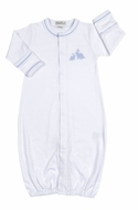 Kissy Kissy Baby Boys Pique Cottontails Easter Bunny Converter Gown - White with Blue