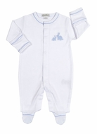 Kissy Kissy Baby Boys Pique Cottontails Easter Bunny Footie - White with Blue