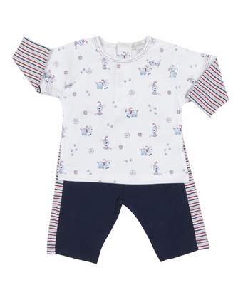 Kissy Kissy Baby Boys Pup Paw-trol Dog Print Shirt with Navy Blue Pants
