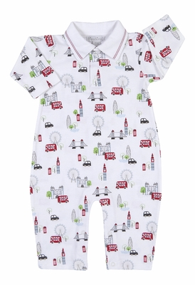 Kissy Kissy Baby Boys Red London Double Decker Bus Tour Print Playsuit with Collar