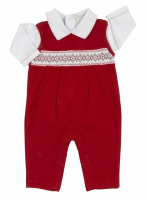 Kissy Kissy Baby Boys Red Smocked Christmas Longall Set