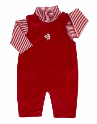 Kissy Kissy Baby Boys Red Velour Santa Overall with Striped Shirt