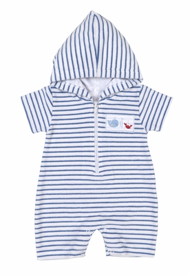 Kissy Kissy Baby Boys Royal Blue Striped Terry Romper with Hood - Whale