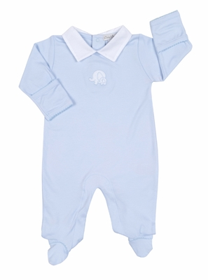 Kissy Kissy Baby Boys Elephant Footie with Collar - Blue