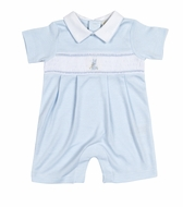 Kissy Kissy Baby Boys Smocked Cottontails Bunny Striped Playsuit with Collar - Blue