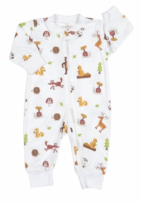 Kissy Kissy Baby Boys Tan / Orange Autumn Woods Animals Print Pajamas with Zipper