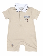 Kissy Kissy Baby Boys Tan Striped Little Slugger Baseball Short Playsuit with Collar