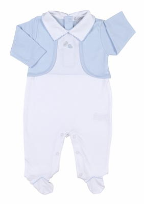 Kissy Kissy Baby Boys Take Me Home Outfit - White Magical Memories Footie with Jacket - Blue