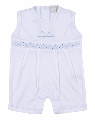 Kissy Kissy Baby Boys White Playsuit Romper - Smocked in Blue with Embroidery Whale
