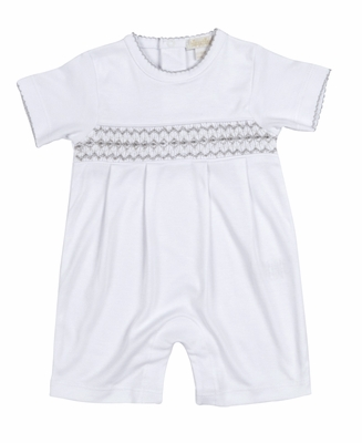 Kissy Kissy Baby Boys White Summer Romper Short Playsuit - Smocked in Silver Gray