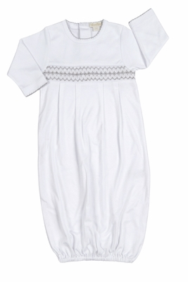 Kissy Kissy Baby Boys White Summer Sack - Smocked in Silver Gray