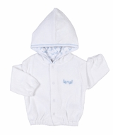 Kissy Kissy Baby Boys White Terry Jacket with Hood - Blue Crabs