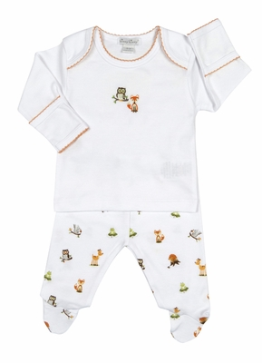 Kissy Kissy Baby Boys Winter Wonderland Forest Animals Print Footed Pant Set