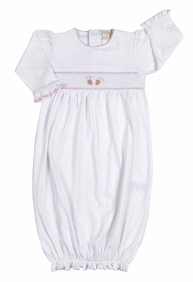 Kissy Kissy Baby Girls Berrylicious White / Pink Dots Smocked Strawberry Sack Gown