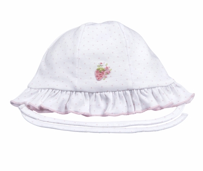 Kissy Kissy Baby Girls Berrylicious White / Pink Dots Strawberry Floppy Hat