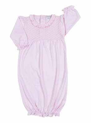 Kissy Baby Girls Blissful Sack Gown with Ruffle - Pink
