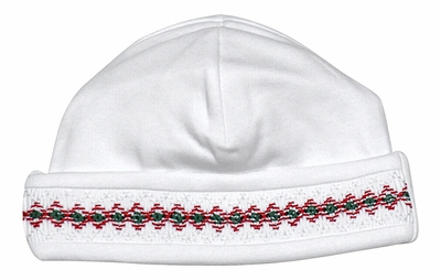 Kissy Kissy Baby Girls / Boys Smocked Christmas Holiday Hat - White