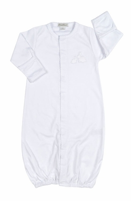 Kissy Kissy Baby Girls / Boys Unisex Pique Cottontails Easter Bunny Converter Gown - All White