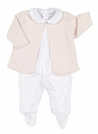 Kissy Kissy Baby Girls Cable Couture Jacquard Jacket / Footie Set - Pink