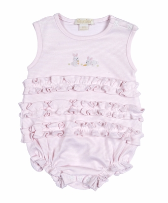 Kissy Kissy Baby Girls Cottontails Bunny Striped Ruffle Bubble - Pink