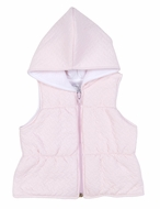 Kissy Kissy Baby Girls Dreamy Jacquard Padded Vest with Hood - Pink
