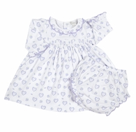 Kissy Kissy Baby Girls Fleur de l'Amour Lilac Hearts Smocked Dress & Diaper Cover