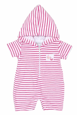 Kissy Kissy Baby Girls Fuchsia Pink Striped Terry Beach Romper Cover Up with Hood - Pink