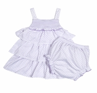 Kissy Kissy Baby Girls Lilac Blooms Smocked Tiered Dress with Diaper Cover