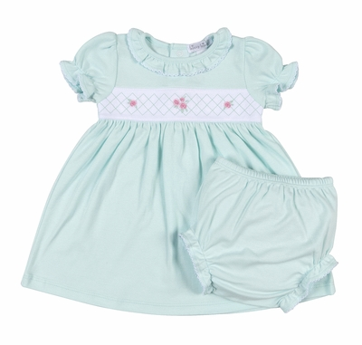Kissy Kissy Baby Girls Mint Green Rose Garden Smocked Dress with Diaper Cover
