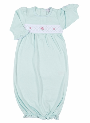 Kissy Kissy Baby Girls Mint Green Rose Garden Smocked Gown