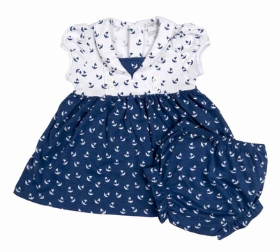Kissy Kissy Baby Girls Navy Blue Sail Away Print Dress with Diaper Cover