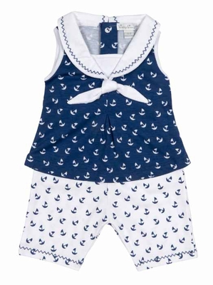 Kissy Kissy Baby Girls Navy Blue Sail Away Sailor Suit Capri Pants Set
