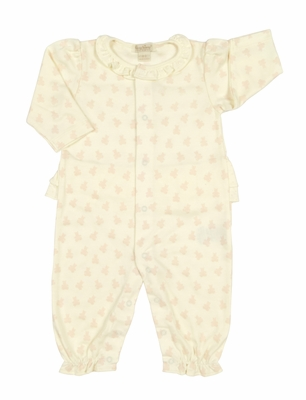 Kissy Kissy Baby Girls Organic Ecru Ruffle Playsuit - Pink Bears