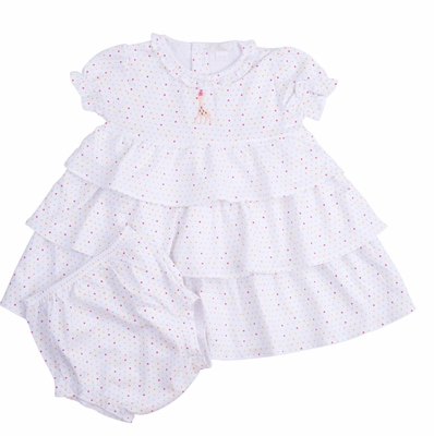 Kissy Kissy Baby Girls Party Time Polka Dots Sophie Giraffe Tiered Birthday Dress with Diaper Cover