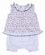 Kissy Kissy Baby Girls Petite Cerise Blue Dots / Floral Ruffle Bloomers Set with Flyaway Top