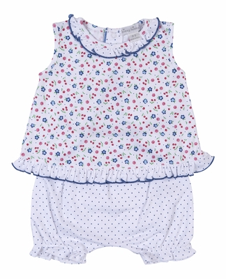 8409b9cd Kissy Kissy Baby Girls Petite Cerise Blue Dots / Floral Ruffle Bloomers Set  with Flyaway Top