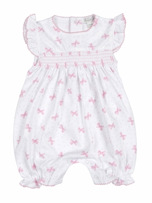 Kissy Kissy Baby Girls Pink Bows Print Smocked Bubble Playsuit