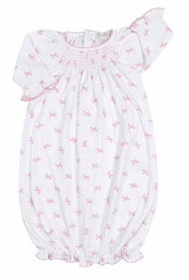 Kissy Kissy Baby Girls Pink Bows Print Smocked Sack Gown